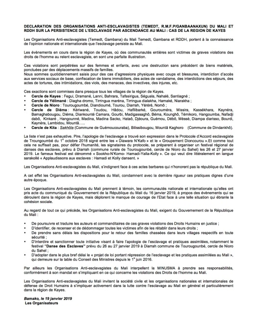 mali-declaration des organisations anti-esclavage-19 january 2019-photo2