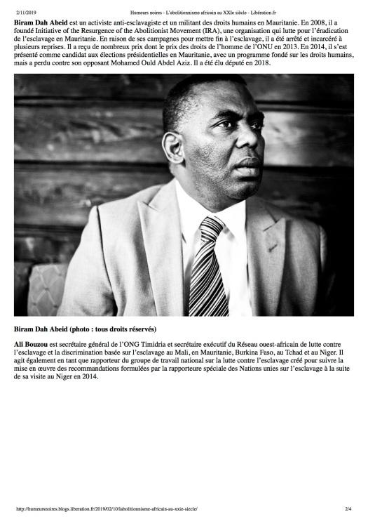 Humeurs noires - L'abolitionnisme africain au XXIe siècle - Libération.fr2
