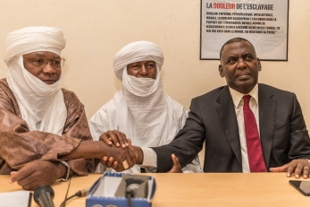 African abolitionists: Ilguilas Weila, Agali Agalher, Biram Dah Abeid(left to right)
